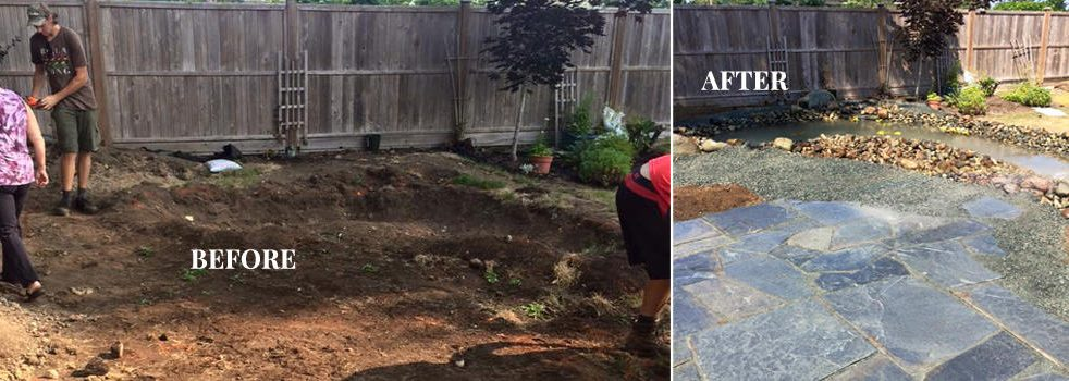 Patio& Pond Before & After